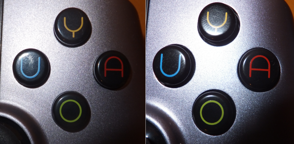 Left: Older Controller with near flush holes; Right: Updated controller with a noticable gap.