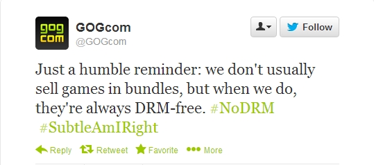 Just a humble reminder: we don't usually sell games in bundles, but when we do, they're always DRM-free. #NoDRM #SubtleAmIRight